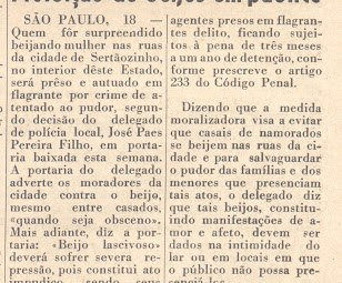 DELEGADO PROIBE BEIJOS EM PÚBLICO.  Jornal O Debate 09/05/1970.