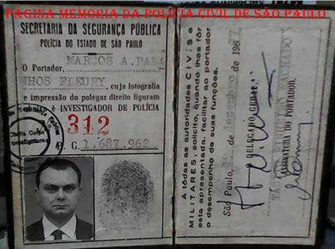 Funcional (Carteira Preta) do Investigador Marcos Antônio Paranhos Fleury, expedida em 19/12/1977. Acervo da filha Vera Fleury