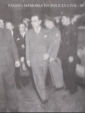 O Governador do Estado de São Paulo Lucas Nogueira Garcez e seu Secretário de Segurança Pública, Delegado de Polícia Elpidio Reali, em 1.950.