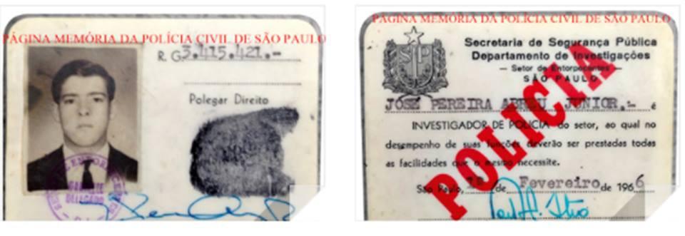 """Carteira funcional do Setor de Entorpecentes do DI- Departamento de Investigações, do ator global José Pereira Abreu Junior """"Zé de Abreu"""", expedida em 1966, assinada pelo Delegado Carlos Ferreira Castro."""