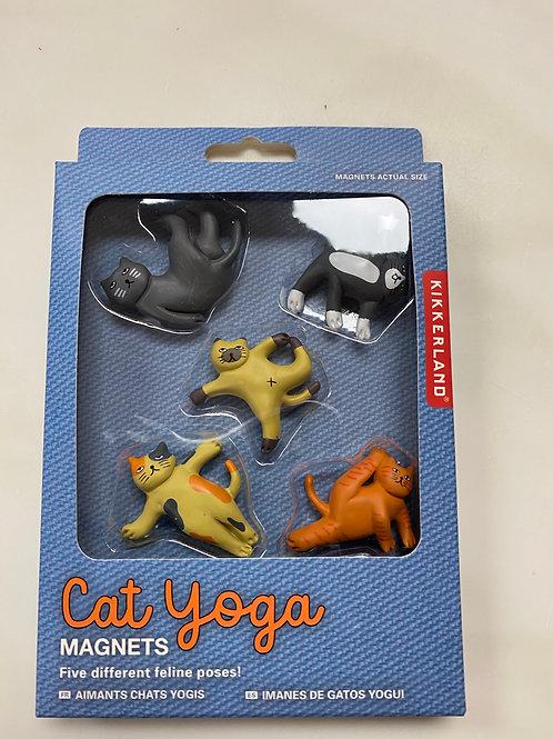 Set of 5 yoga cat magnets