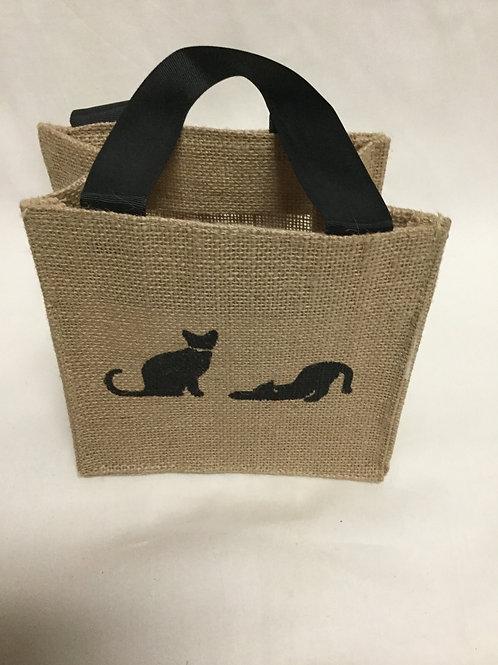 Burlap black cat tiny tote
