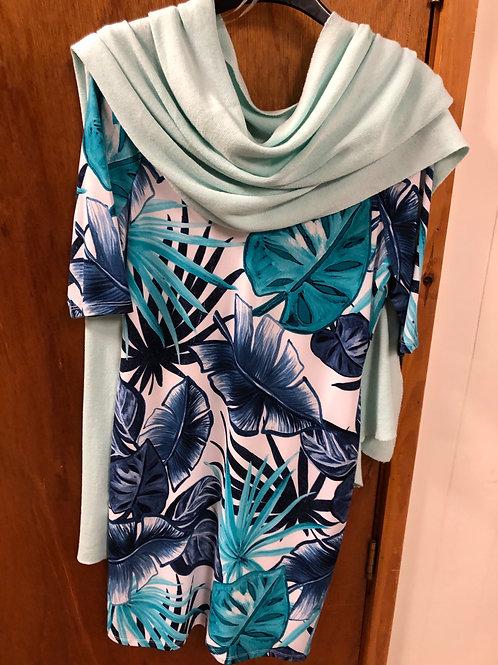 'Michael Tyler' tropical blue green floral dress