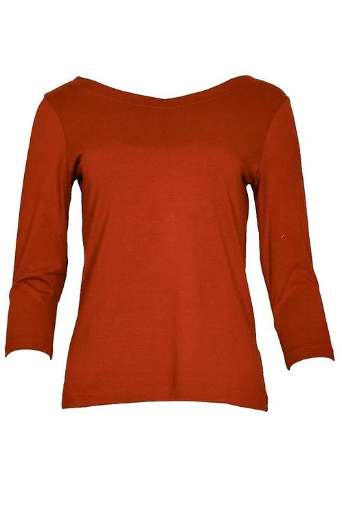 Salaam 3/4 sleeve solid rust top