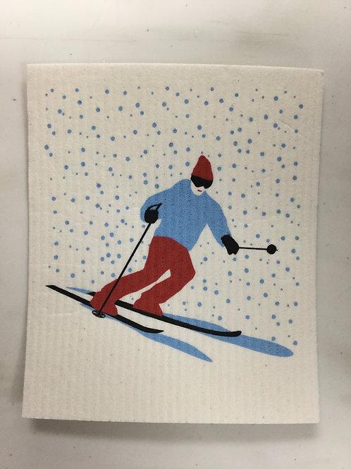 Skier Swedish Dishcloth