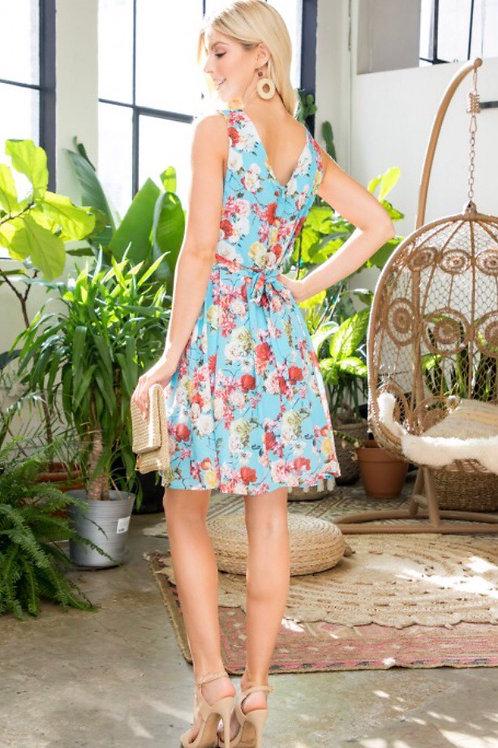 Sky blue floral dress