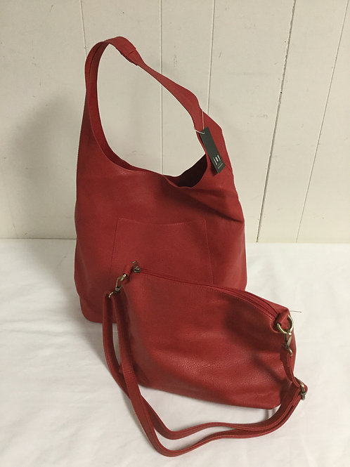 Red tote and shoulder bag