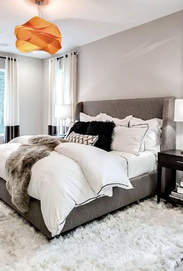 Recámara decorada con alfombra