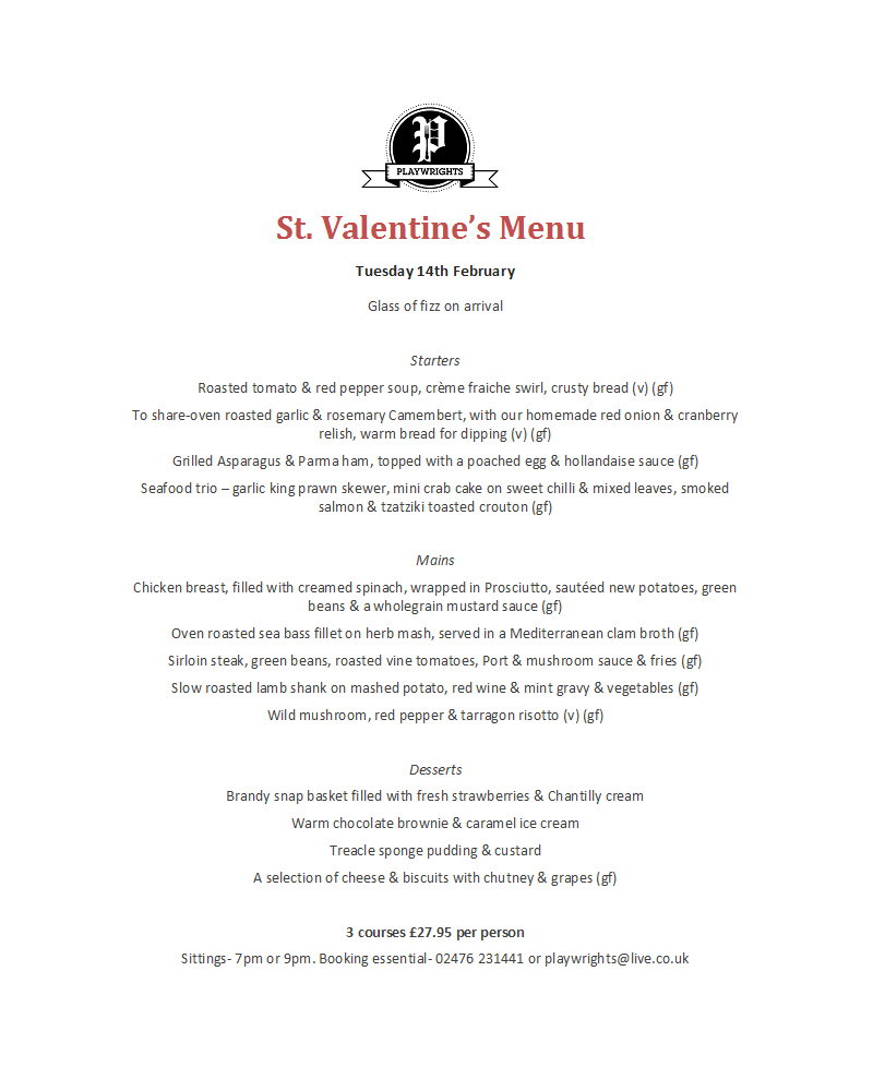 Valentines Day Menu