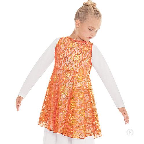 65568c - Eurotard Girls Heavenly Lace Peplum Praise Tunic