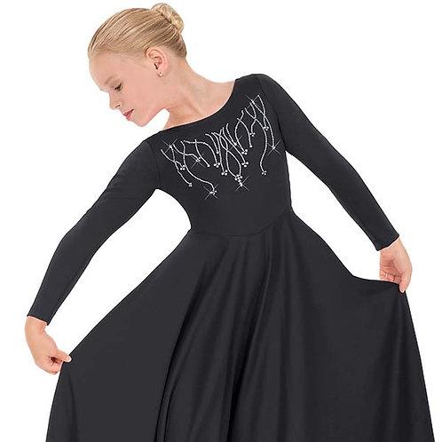 11024c - Eurotard Girls Front Lined Long Sleeve Praise Dress with Rhinestone Rei