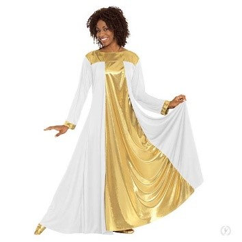 14820 - Womens Guiding Light Loose Fit Praise Dress with Metallic Panels