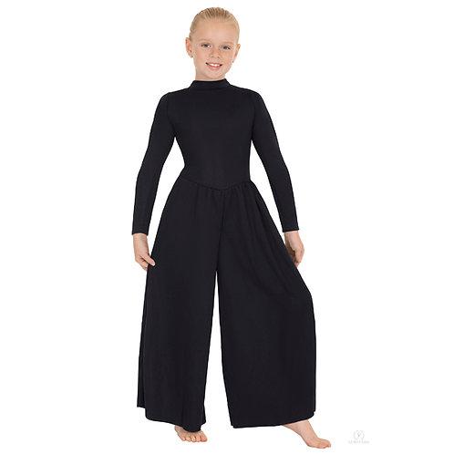 13846c - Eurotard Girls Simplicity Polyester Long Sleeve Wide Leg High Neck Prai