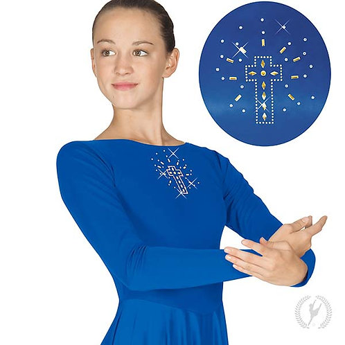 11524 - Eurotard Womens Front Lined Long Sleeve Praise Dress with Metallic Shini