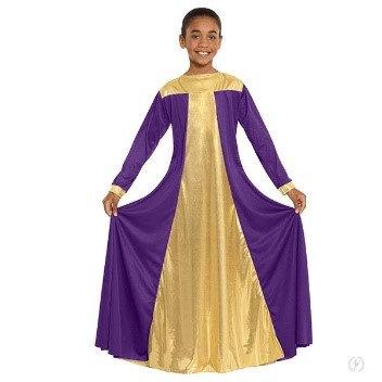 14820c - Girls Guiding Light Loose Fit Praise Dress with Metallic Panels
