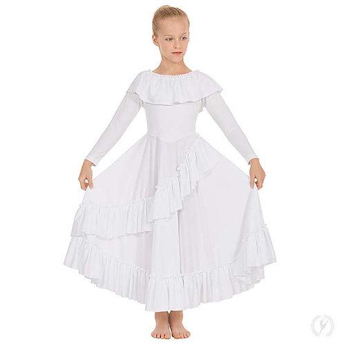13779c - Eurotard Girls Revelation Ruffle Long Sleeve Praise Dress