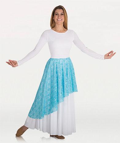 Girls Asymmetrical Lace Skirt