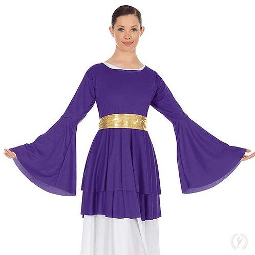 13813 - Eurotard Womens Humble Servant Polyester Bell Sleeve Peplum Praise Top