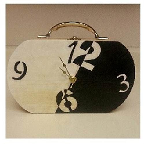 Two-Tone Clock Box Purse