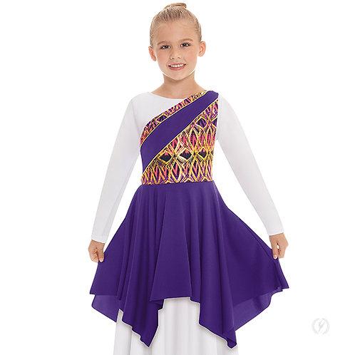 63567c - Eurotard Girls Joyful Praise One Shoulder Worship Tunic