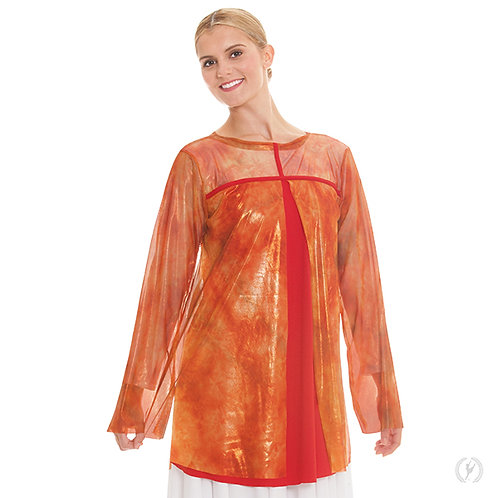 80830 - Eurotard Womens Flame of Fire Split Layer Loose Fit Praise Tunic