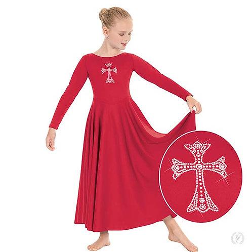 11022c - Eurotard Girls Front Lined Long Sleeve Praise Dress with Rhinestone Roy