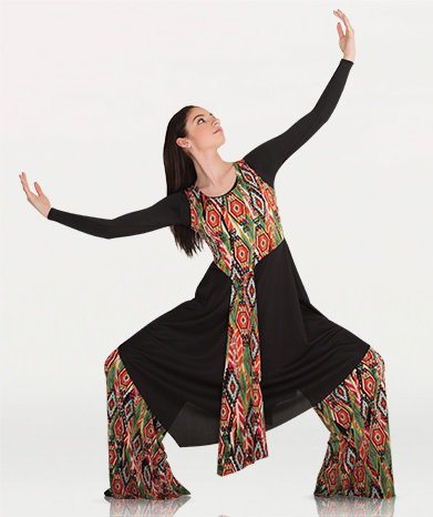 Printed Asymmetrical Tunic Pullover