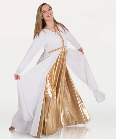 Girls Long Sleeve Dress W/ Metallic Front Cross