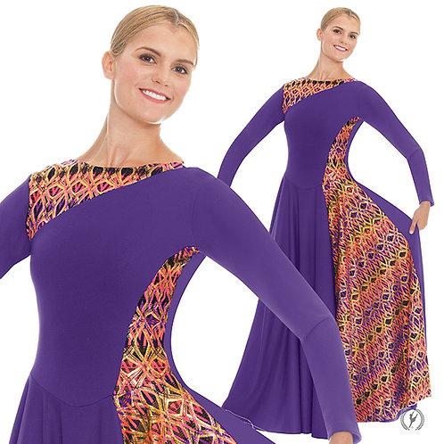 63867 - Eurotard Womens Joyful Praise Asymmetrical Print Long Sleeve Praise Dres