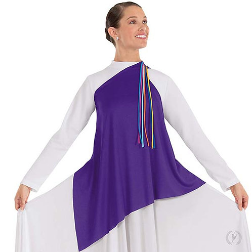 13844 - Eurotard Womens Quiet Prayer Polyester One Shoulder Tunic with Attached