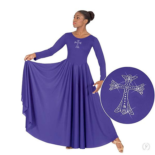 11022 - Eurotard Womens Front Lined Long Sleeve Praise Dress with Rhinestone Roy