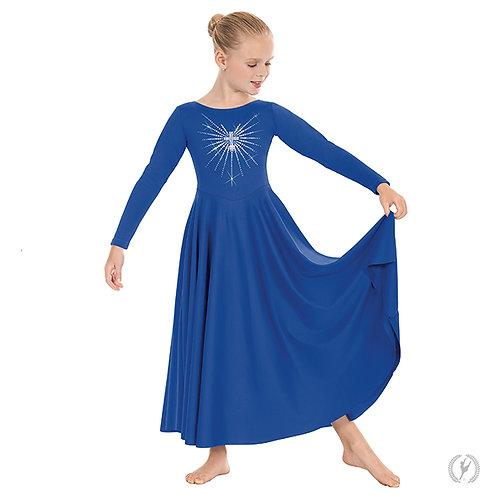 11030c - Eurotard Girls Front Lined Long Sleeve Praise Dress with Rhinestone Rad