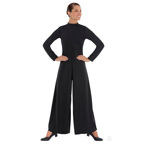 13846 - Eurotard Womens Simplicity Polyester Long Sleeve Wide Leg High Neck Prai