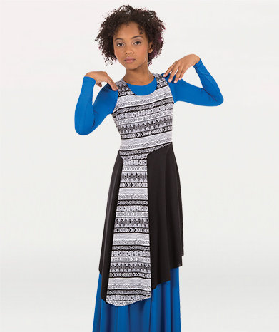 Girls Printed Asymmetrical Tunic Pullover