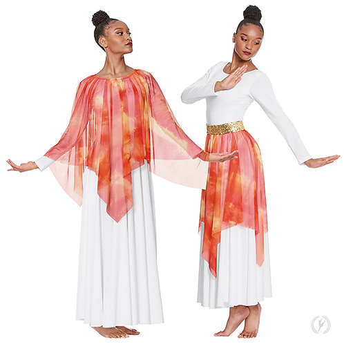 84768 - Eurotard Womens Ignited Glory Handkerchief Skirt and Drape Overlay