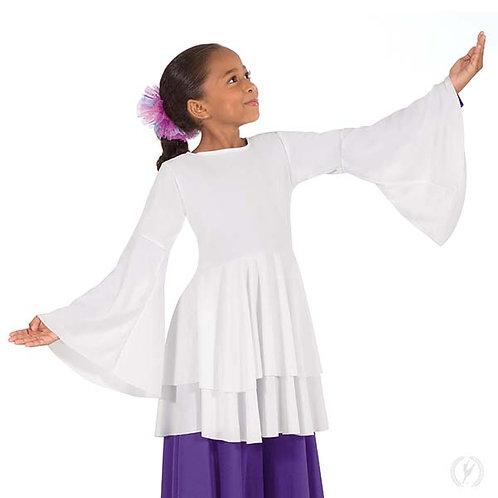 13813c - Eurotard Girls Humble Servant Polyester Bell Sleeve Peplum Praise Top