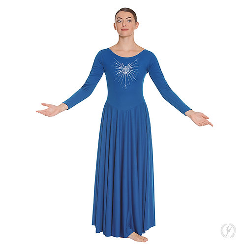11030 - Eurotard Womens Front Lined Long Sleeve Praise Dress with Rhinestone Rad