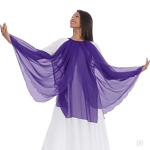 39856 - Eurotard Womens Chiffon Layered Panel Praise Overlay with Finger Loops