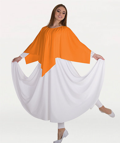Girls Handkerchief Hem Skirt/Shoulder Drape