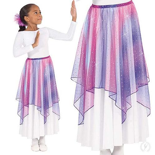 13768c - Eurotard Girls Soft Skies Sequined Tulle Drape and Skirt Praise Overlay