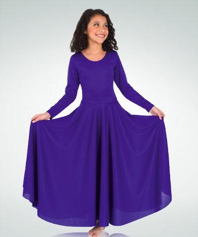Girls Praise Dance Loose Fit Long Sleeve Dance Dress