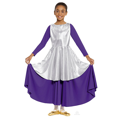 14824c - Eurotard Girls Guiding Light Metallic Peplum Style Praise Tunic