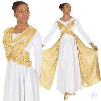 14124 - Womens Guiding Light Long Sleeve Praise Dress with Attached Gold Sashes