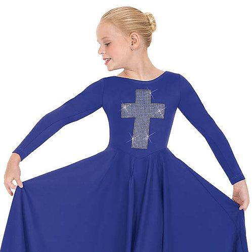 11027c - Eurotard Girls Front Lined Long Sleeve Praise Dress with Metallic Cross