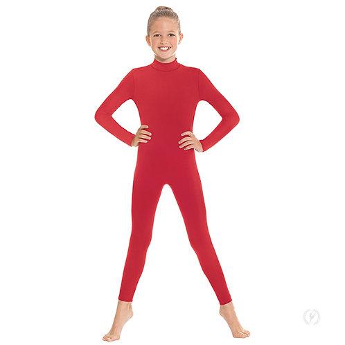 44132c - Eurotard Girls Zipper Back Mock Neck Long Sleeve Unitard with Tactel® M
