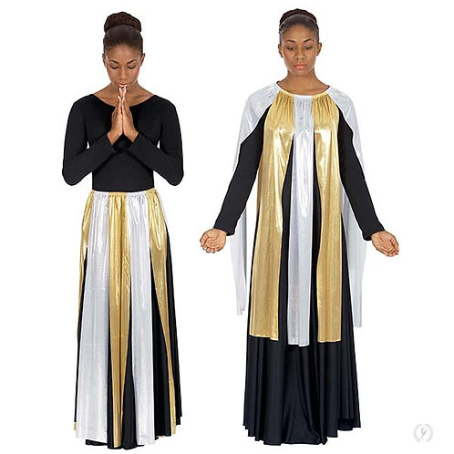 14808 - Eurotard Womens Metallic Paneled Praise Skirt Overlay