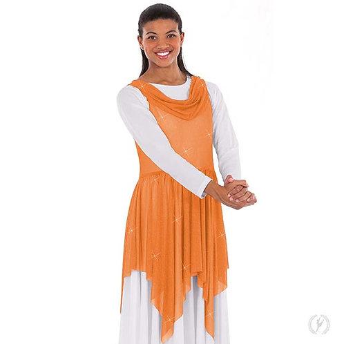 13860 - Eurotard Womens Shimmering Draped Neckline Handkerchief Style Praise Tun