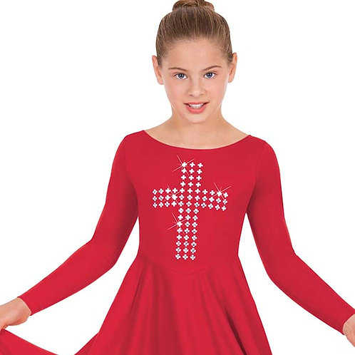 11029c - Eurotard Girls Front Lined Long Sleeve Praise Dress with Silver Cross