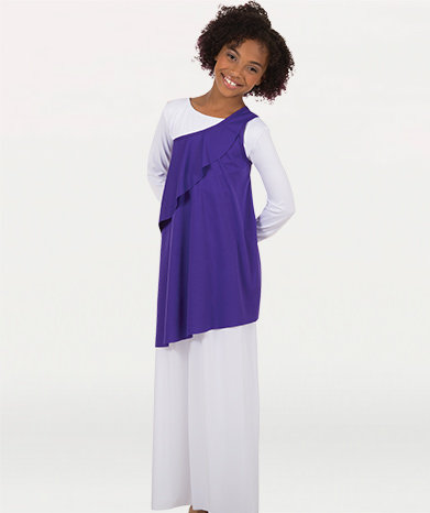 Girls Solid Asymmetrical Uneven Hem Tunic