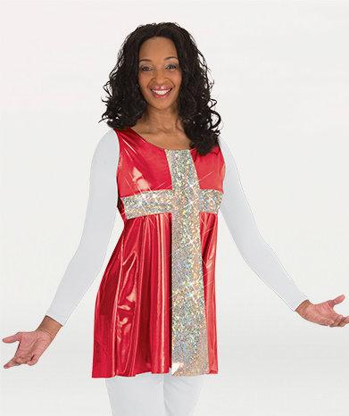 Girls Flowing Cross Sleeveless Tunic Pullover